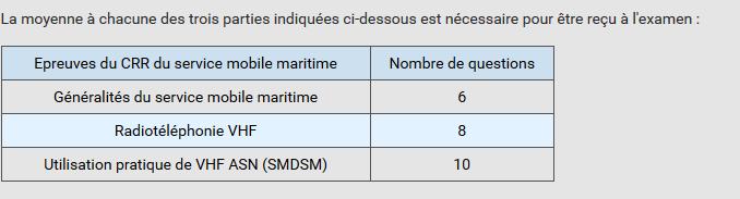 examen du radiotéléphoniste VHF et ASN
